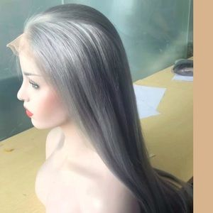 Silver Gray Straight Brazilian Lace Front 12""